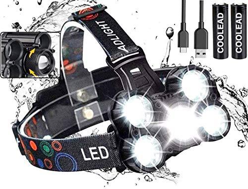 Linterna frontal LED Recargable de Trabajo, 8000 Lúmenes, 4 Modos de Luz...