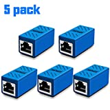 RJ45 Coupler, Ethernet Extension, Network Connectors for Cat7/Cat6/Cat5e/Cat5 Ethernet Cable - Network Cable Coupler Female to Female (Blue-5 Pack)