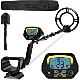 Metal Detector, Higher Accuracy Adjustable Waterproof Metal Detectors with LCD Display, Discrimination & Notch & All Metal Mode 10 Inch Search Coil for Adults & Kids