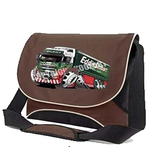 KOOLART caricature art EDDIE STOBART 3045 PRINTED IMAGE 100% UnOfficial Motor Caricature Art Product ON FRONT FLAP,FLOW LAPTOP MESSENGER BAG (CHOCOLATE)