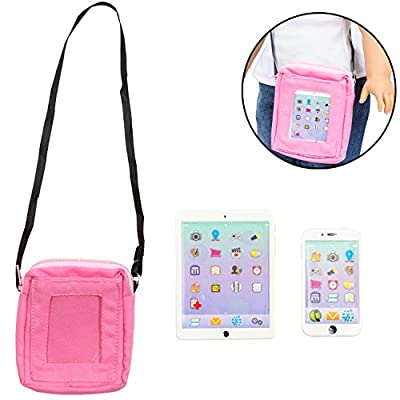 """Dress Along Dolly 3pc Cell Phone, Computer Tablet, and Laptop Accessory Bag Set for American Girl & 18"""" Dolls - Durable Metal Construction"""