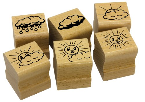 Elbi Stempelset: 6 x Leistungssteigerung Sonne/Wolke Lehrerstempel aus Holz - K10