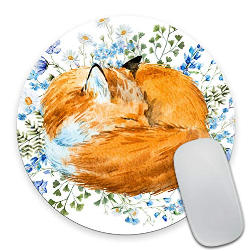 Smooffly Fox Mousepad Floral Blue Flowers Mouse pad Animal Round Mouse pad Cute Mousepad Desk Accessories Office Supplies