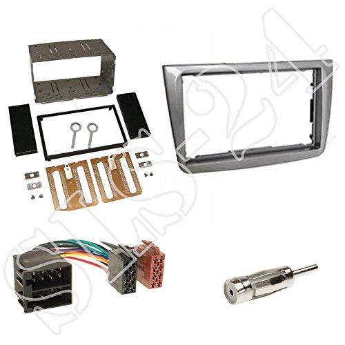 Einbauset: Autoradio Doppel-DIN 2-DIN Blende Einbaurahmen Radioblende silber + ISO Radio Verlängerung für Alfa MiTo (Typ 955) ab 08/2008