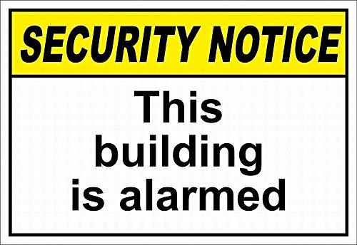 Este edificio está alarmado de seguridad vintage retro metal estaño signos de estilo vintage placa para bar, cafetería, tienda, hogar, garaje, decoración de pared 30,5 x 20,3 cm
