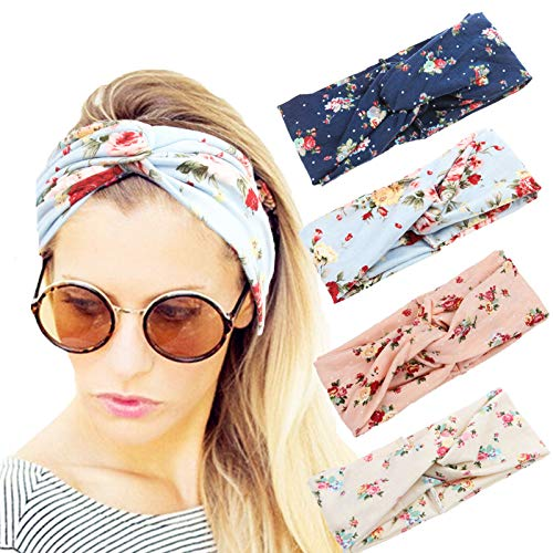 4 Pack Women Headbands Boho Floal S…