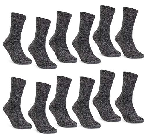 6   12   24 Paar THERMO Socken Damen & Herren Vollfrottee Wintersocken Schwarz Baumwolle (39-42, 12 Paar   Grau meliert)