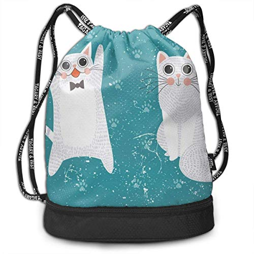 JINGS Sporttaschen Turnbeutel Cat Set Men & Women Sport Gym Sack Mochila con cordón Bag Polyester Bolsa con cordón for Gym School Or Travel