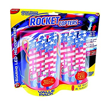 Rocket Copters Slingshot Helicopters Value Pack - As Seen on TV Red/White/Blue