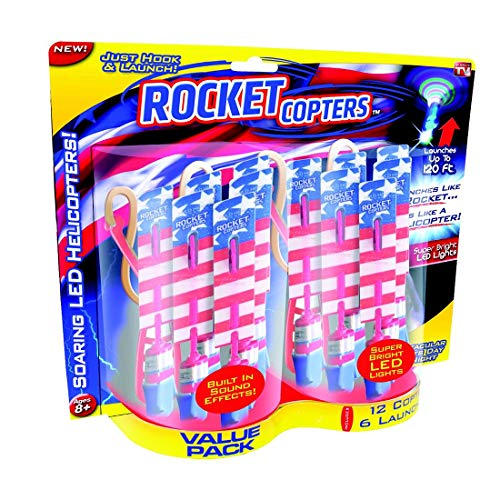Rocket Copters Slingshot Helicopters Value Pack - As Seen on TV, Red/White/Blue
