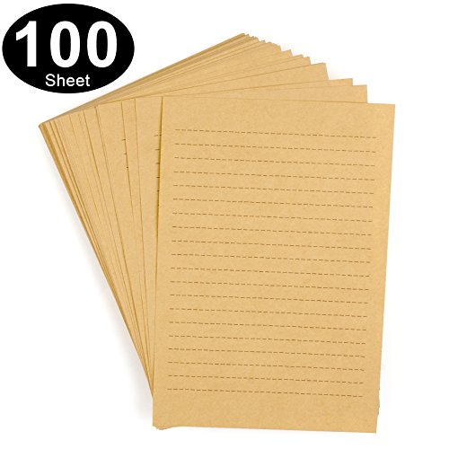 CenterZ 100pcs Vintage Kraft Stationary Paper 8.3 x 11.5 inch, A4 Sheets 120gsm Printable Lined Stationery Writing Letter Papers Bulk Set for Personalized Letters, Creative Poems, Lyrics, Office Notes