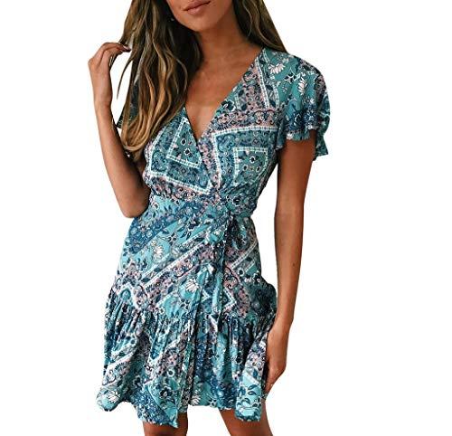 riou Vestidos Vestidos Casual para Mujer Vestido de Manga Corta con Estampado Bohemio Sexys Y Elegantes Moda Mujer 2019 Playa Vestido de Fiesta Largos de Noche