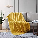 EXQ Home Textured Solid Knit Throw Blanket with Tassels, Soft Lightweight Decorative Woven Blanket for Couch,Bed,Sofa,Travel, Machine Washable Cozy Blanket Suitable for All Seasons(50'×60',Yellow)