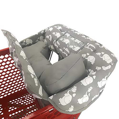 Soft Pillow Attached 2-in-1 Shopping Cart and High Chair Cover for Baby~Padded~Foldn Roll Style~Portable with Free Carry Bag (Elephant)