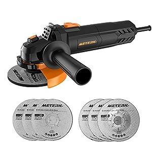 Amoladora Angular, Meterk Multi-function Amoladora 750W de 115 mm y 12000 RPM con 6 Ruedas Esmerilar/Pulir/Cortar, 1 Cubiertas Protectoras de Ruedas y 1 Mango Auxiliar, Para Trabajos de Rectificado