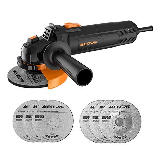 Amoladora angular, Meterk Multi-function Angle Grinder 750W 4-1 / 2inch con 115mm Para eliminar/cortar/moler Con 3 Ruedas abrasivas de rectificado 3 Ruedas abrasivas de corte 1 mango auxiliar