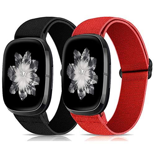 Zoholl Correa de repuesto para reloj inteligente Fitbit Versa 3 y Sense, de tejido de nailon ligero a rayas, correa de repuesto para Fitbit Sense/Versa 3