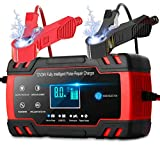 Car Battery Charger, 12V 24V Battery Charger & Maintainer, 3-Stage Automatic Trickle Battery Charger Maintainer with Six Functions for Most Types of 2AH-150AH Lead Acid Batteries