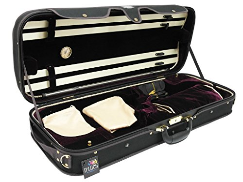 D'Luca CP04M-BKBU Double Violin Case Black-Burgundy