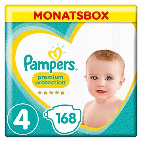Pampers Premium Protection Windeln, Größe 4 Maxi (9-14 kg), Monatsbox, 1er Pack (1 x 168 Stück)