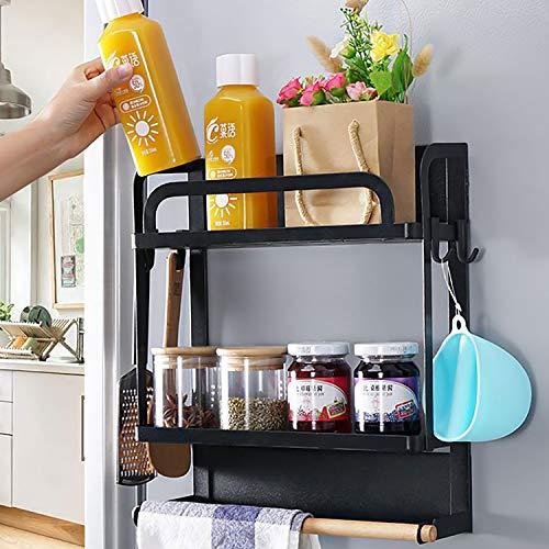 Lemecima Kühlschrank Regal Hängeregal für Kühlschrank Magnet Gewürzregal mit 4 Abnehmbaren Haken Papierhandtuchhalter Küchenregal Küchen Organizer Aufbewahrung Multifunktional Küchenständer Schwarz