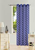 GorgeousHomeLinen (S38) 1 PC Pattern Design Voile Sheer Two-Tone Window Curtain Drape Panel 8 Silver Grommets 55' Wide X 95' Length (Navy-White)