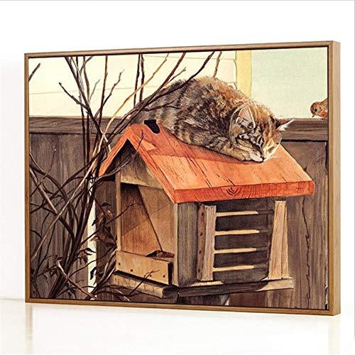 Diy Digitale Olieverfschilderij,Kat op de brievenbus Schilderen Door Cijfers,Linnen Canvas ,Foto Voor Binnendecoratie - 40x50cm(Fotolijst)