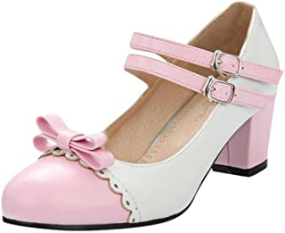 [KITTCATT] レディースパンプス リボン付き靴 甲ストラップ ラウンドトゥ靴 可愛いシューズ メリージェーン 靴 ヒールの太いパンプス レディース 靴 ロリータ 靴ローヒール