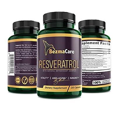 RESVERATROL (Most Potent) Natural Antioxidant Supplement, Piperine Enhanced. Anti-Aging, Boosts Immune System, Cardiovascular Health, 100% Vegan, 1200mg, Highest Absorption Trans-Resveratrol