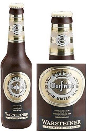 04#022621 Schokolade, Bierflasche, in ORIGINAL Größe, Warsteiner, Bier, Bierflasche aus Schokolade, Schokoladenbierflasche, echte Etiketten