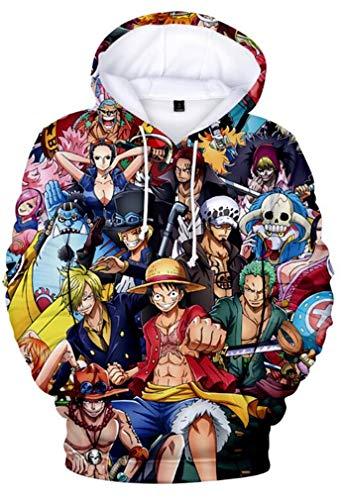 AMOMA Luffy Chopper Anime One Piece Hoodie Kapuzenpullover Sweatshirt für Herren und Damen(M,AllGroup)