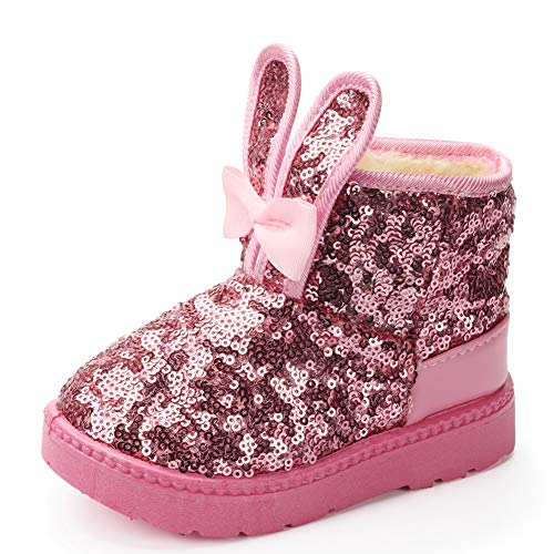 Blue Line Girls Boots, Bunny Kid Boots Warm Winter Sequin Waterpoof Outdoor Snow Boots (Toddler/Little Kids)