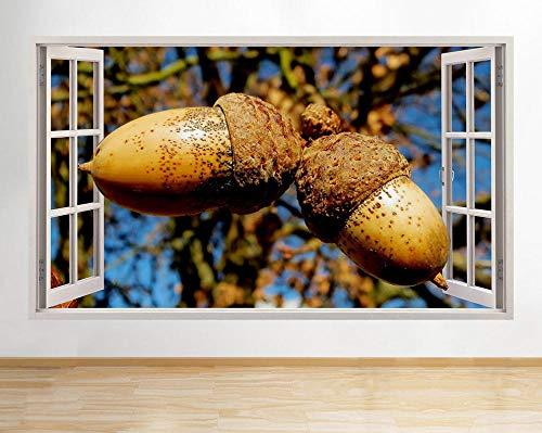 Pegatinas de pared Pegatinas de pared Bellota Árboles Rama Naturaleza Pasillo Ventana Calcomanía Arte 3D Habitación de vinilo Póster Arte 3D Mural 50x70cm