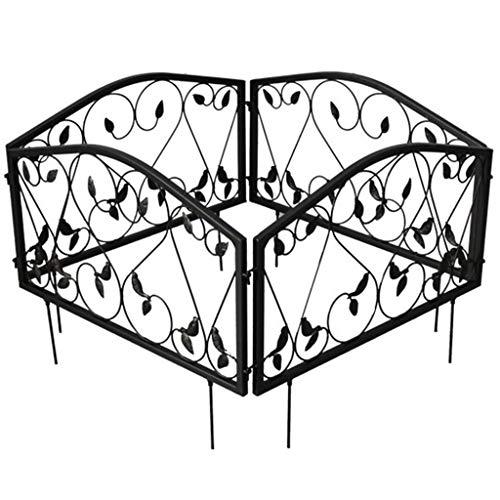 QILIN Clôtures Décoratives De Jardin, 4 Pièces De Clôture De Cour en Fer Forgé Cloison Extérieure Petite Décoration De Pelouse Extérieure Clôture De Balcon De Jardin Noir (57,5 Cm × 46 Cm)