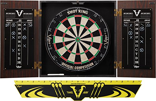 Viper by GLD Products Stadium Cabinet & Shot King Sisal/Bristle Dartboard Ready-to-Play Bundle: Standard Set (Shot King Dartboard, Darts and Throw Line), Black (40-1211)