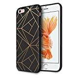 HELLO GIFTIFY Phone Case Compatible with iPhone 8 / iPhone 7 / iPhone SE 2nd gen (2020) Black Soft TPU Gel Protective Rubber Cover, Geometric Gold Designed