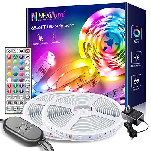65.6 ft LED Strip Lights with Built-in Mic Ultra-Long LED Lights for Bedroom Color Changing RGB LED Strips(65.6 ft 44 Keys Remote+ Mic Control)