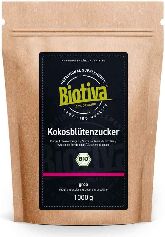 Azúcar de flor de coco orgánico 1 kg - azúcar de coco 1000 g - nota de caramelo - comercio justo - 1 a 1 como azúcar - llenado y verificado en Alemania (DE-ÖKO-005)
