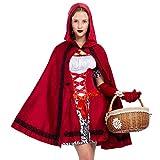 Spooktacular Creations Disfraz de Caperucita Roja de Halloween para mujeres adultas - Rojo - S