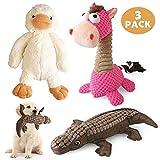 ZealBoom 3PCS Peluche Giocattoli per Cani Dog Squeaky Toys Set di Giochi per Cani Piccoli ...