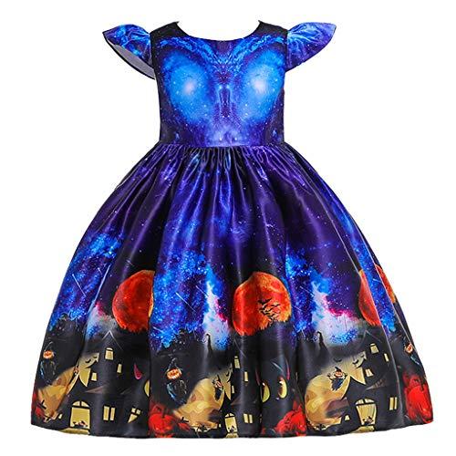 Fossen Kids - Lindo Disfraz Niña Chica Vestido de Fiesta Halloween Cosplay - Falda de Hermanas de Impresión de Calabaza Bat de Manga Voladora, Traje de Bruja Disfraces Niña