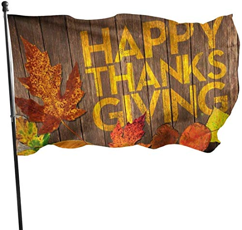 Viplili Banderas, Happy Thanksgiving Flag 3x5 Ft, Double Stitched Polyester with Brass Grommets 3x5 Feet Flags for Outdoor Indoor Home Decor