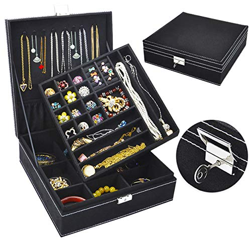 Jewelry Box for Women QBeel 2 Layer 36 Compartments Necklace Jewelry Organizer with Lock Jewelry Holder for Earrings Bracelets Rings - Black