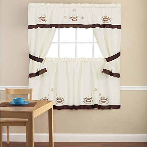 """Sweet Home Collection 5 Piece Kitchen Curtain Window Panel Set Printed Design with Tier, Swag, and Valance, 36"""", Cup-A-Joe"""