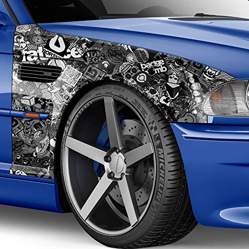 50x150cm Stickerbomb Auto Folie in schwarz/weiss Glanz - Sticker Logo Bomb - JDM Aufkleber - Design: Skate