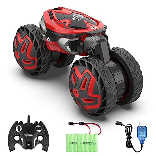Hobby RC Cars VarMote 2.4GHz Remote Control Crawler 4WD Stunt Car 360° Rotating Climbing All Terrain Off Road RC Drift Car with 2 Rechargeable Batteries RC Monster Truck for Adults and Kids
