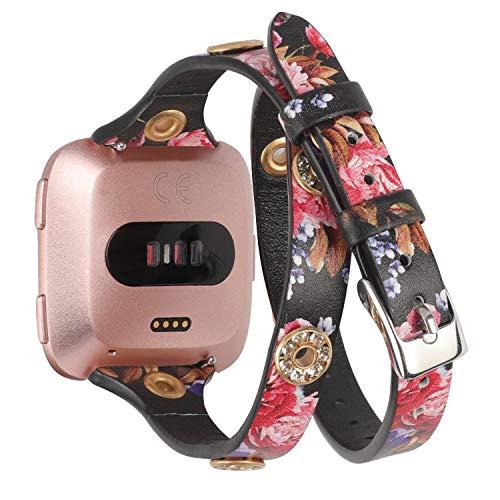 Glebo compatibile con Fitbit Versa 2 / Versa / Versa Lite Edition cinturino, Sottile Doppio Avvolgere cinturino con Bling Studs per Fitbit Versa 2 Smartwatch,Nero Rosa