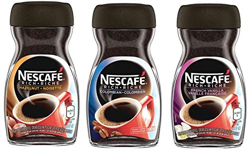 Nescafe Rich Instant Coffee Variety Pack - Columbian, Hazelnut, French Vanilla {Imported from Canada}