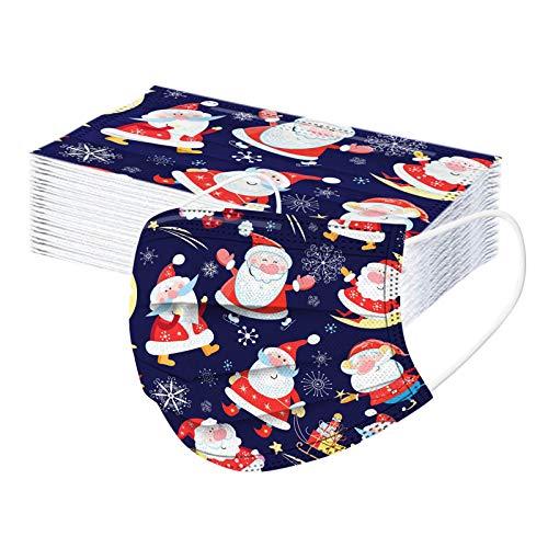 50 Stück Boy Girl Einweg Weihnachten bedrucktes Muster Mund- und Nasenschutz 3-lagige Verdickung, Bequeme elastische Ohrmuscheln, kältebeständig(D)