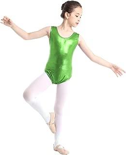 Kids Girls Sleeveless Shiny Metallic Spandex Gymnastics Dance Leotard Classic Leather Tank Bodysuit Tops